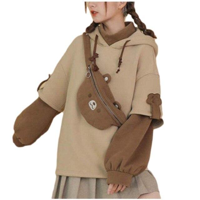 harajuku aesthetic bear anime hoodie women korean kawaii crewneck long sleeve oversized fall winter clothes kpop streetwear tops 1