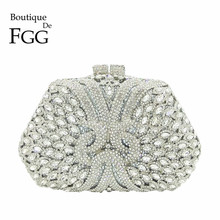 Boutique De FGG Dazzling Silver Diamond Clutch Purse Women Crystal Bags Evening Wedding Party Handbag Bridal Metal Minaudiere