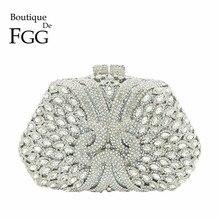 Boutique De FGG olśniewający srebrny diament sprzęgła torebka kobiety kryształowe torby wieczór wesele torebka Bridal Metal Minaudiere