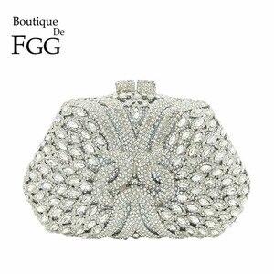 Image 1 - Женский Блестящий клатч Boutique De FGG, серебристая сумочка со стразами, вечерняя сумочка для свадебной вечеринки, металлическая сумочка для невесты