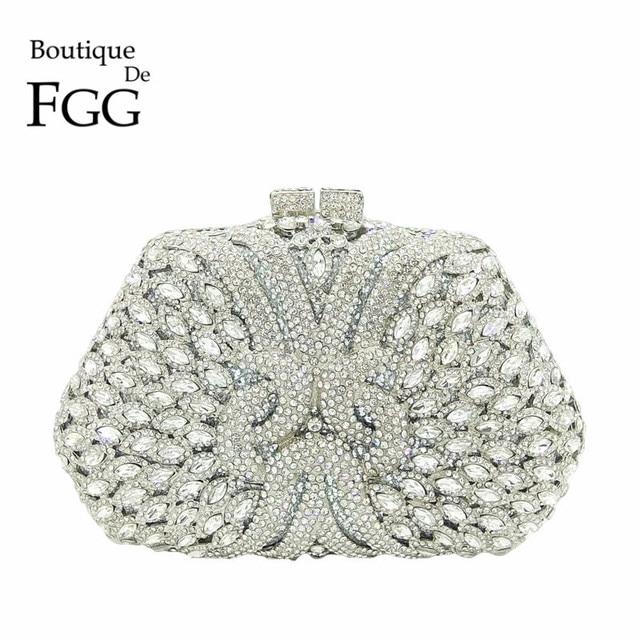 Женский Блестящий клатч Boutique De FGG, серебристая сумочка со стразами, вечерняя сумочка для свадебной вечеринки, металлическая сумочка для невесты