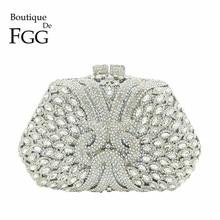 בוטיק דה FGG מסנוור כסף יהלומי מצמד ארנק נשים שקיות גביש ערב מסיבת חתונת תיק הכלה מתכת Minaudiere