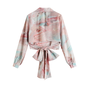 [EAM] Women Pattern Printed Bandage Bow Blouse New Lapel Long Sleeve Loose Fit Shirt Fashion Tide Spring Summer 2020 1W153