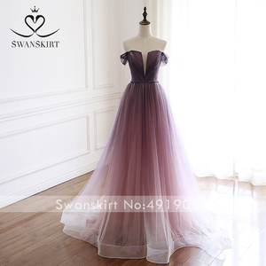 Image 3 - Romântico vestido de noite 2020 swanskirt praia fora do ombro a linha tule princesa cinto de cristal vestido de noiva noiva a263
