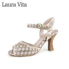 LAURA VITA High Heel Sandals Women Fish Mouth Pumps Classic wave point shoes 2020 New HOCO 03