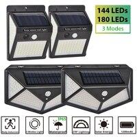 180 144 100 30 LED luce solare 3 modalità PIR sensore di movimento lampada da parete a luce solare lampada da strada lampada da giardino impermeabile per esterni