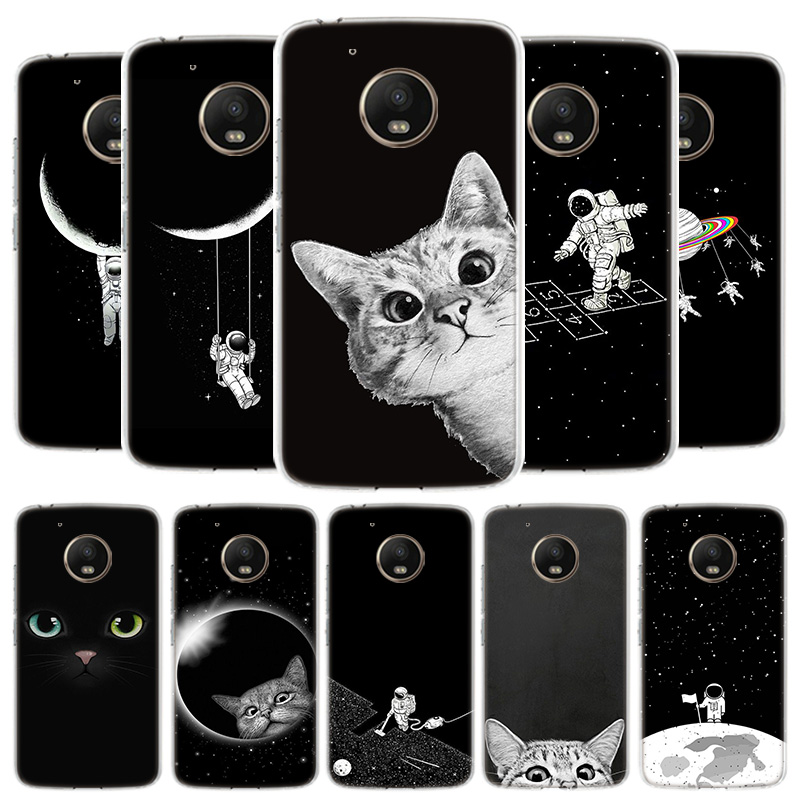 Space Moon Cute Cats Cover Phone Case For Motorola Moto G8 G7 G6 G5S G5 E4 Plus G4 E5 E6 Play Power One Action EU Gift Shell