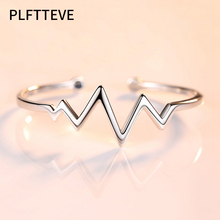 Cute Heart Beat ECG Cuff Bracelets & Bangles For Women Girls Silver Color Alloy Open Female Bangle Bracelet Fashion Jewelry charming solid color heart cuff bracelet for women