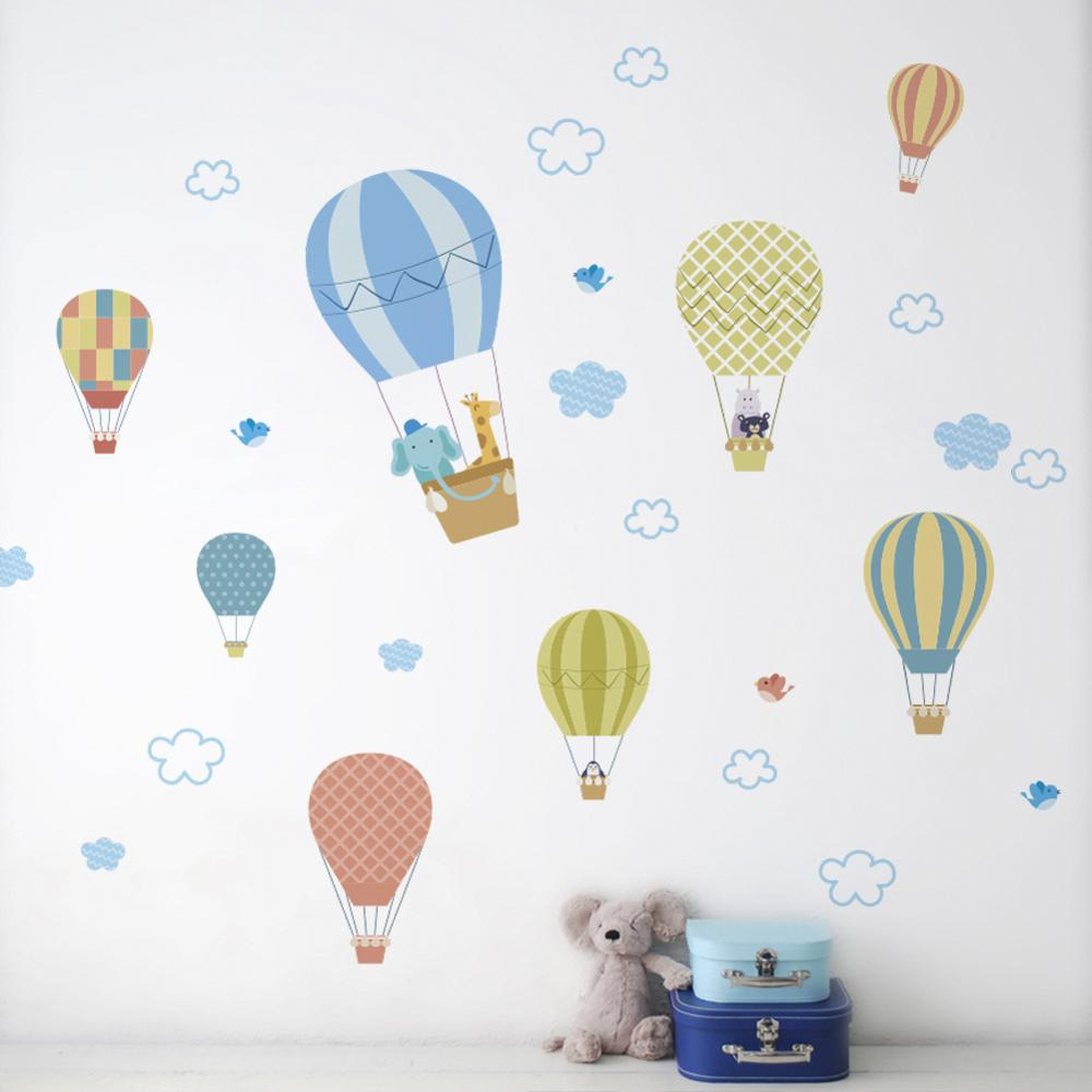 White Cloud Hot Air Balloon Wall Sticker Baby Bedroom Children's Room Decoration Wallpaper Home Decor Mural Removable Stickers