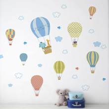 Witte Wolk Hot Air Balloon Muursticker Baby Slaapkamer Kinderkamer Decoratie Behang Home Decor Mural Verwijderbare Stickers(China)