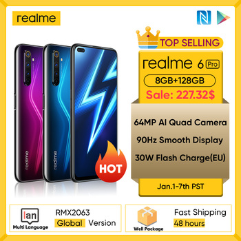 Realme 6 Pro Mobile Phone 6.6inch 90Hz Display 64MP Camra 8GB 128GB Snapdragon 720G Smartphone 4300mAh Battery 30W Flash Charge