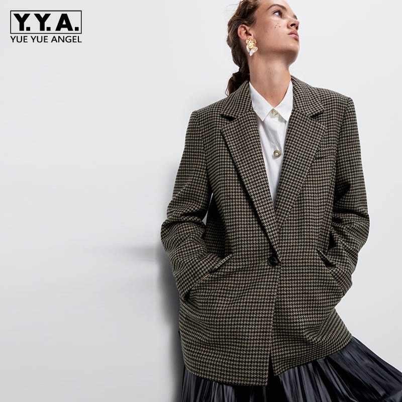 Kadın yün ceket sonbahar kış marka gevşek ekose orta uzun Casual Blazer Streetwear tek düğme yaka takım elbise ceket kadın