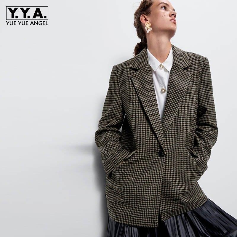 Women Woolen Coat Autumn Winter Brand Loose Plaid Medium Long Casual Blazer Streetwear Single Button Lapel Suit Jacket Female