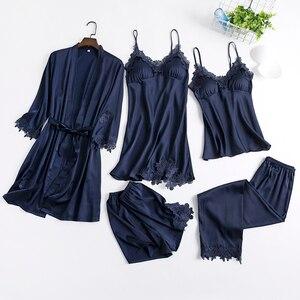 Image 4 - 5 pièces Robe ensemble pyjama pour femmes ensembles chemise de nuit 2020 nouveau vêtement de nuit Kimono Robe Robe intime Lingerie dentelle chemise de nuit peignoir
