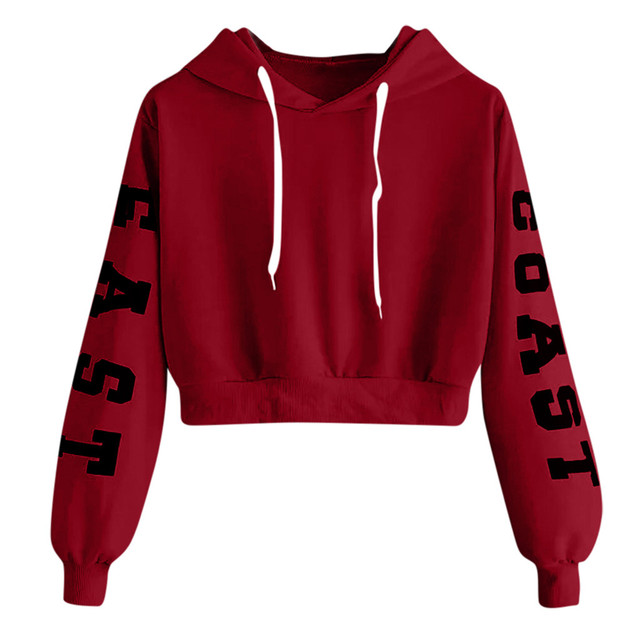 Womens Letters Hoodie Sweatshirt Pullover Tops Teenager Girls Velvet Long Sleeve Cropped Sweatshirts sudaderas de mujer moletom