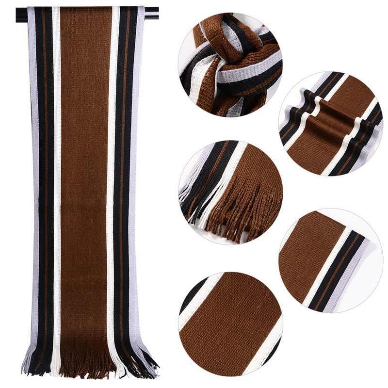 JODIMITTY kış tasarımcı eşarp erkek çizgili pamuklu eşarp erkek marka şal Wrap örgü kaşmir Bufandas uzun çizgili püskül ile
