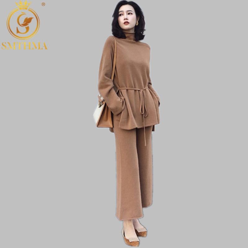 SMTHMA Women 2 Piece Pant Set 2019 Autumn Winter Fashion Casual Cashmere Half-high Collar Loose Top+Wide Leg Pants Knit Suit Set