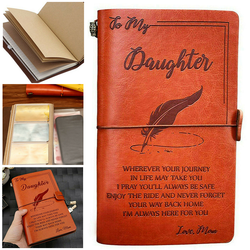 To My Daughter Where Ever Love Mom Leather Business Journal Notebook Diary For Writing Diary Work Record Schedule