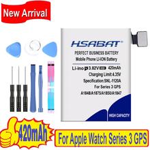 Najlepsza marka 100 nowy 320mAh 420mAh bateria do Apple Watch seria 3 GPS LTE 38mm 42mm A1847 A1875 A1848 A1850 A1858 A1859 tanie tanio HSABAT 0-1300 mAh Kompatybilny ROHS Apple iphone ów Watch Series 3 GPS LTE