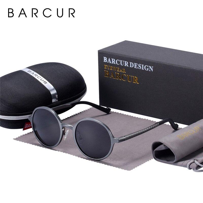 Image 5 - BARCUR Hot Black Goggle Male Round Sunglasses Luxury Brand Men Glasses Retro Vintage Women Sun glasses UV400 Retro Style-in Men's Sunglasses from Apparel Accessories