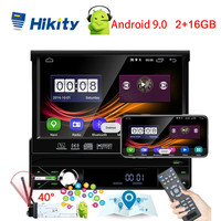 Hikity Android 9.0 1Din Car Multimedia Player Automatic Retractable Screen Autoradio GPS universal Radio Car Support Micphone