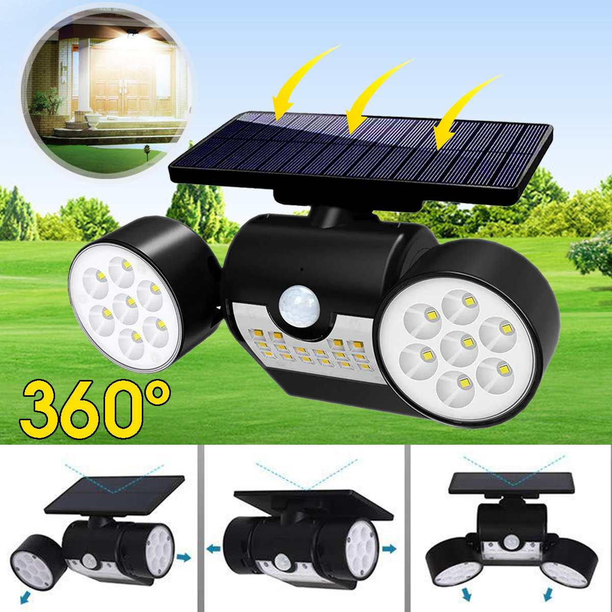 LED Solar Light Waterproof IP65 Dual Head Solar Lamp PIR Motion Sensor Light With Solar Panels Auto Turn On/Off Spotlight Home