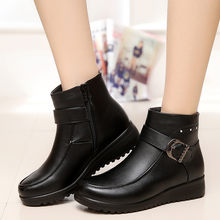 Women Buckle Strap Leather Martin Boots Ladies Fashion Wedges Cotton Thickening Warm Snowshoe Keep Warm Black Short Boots(China)