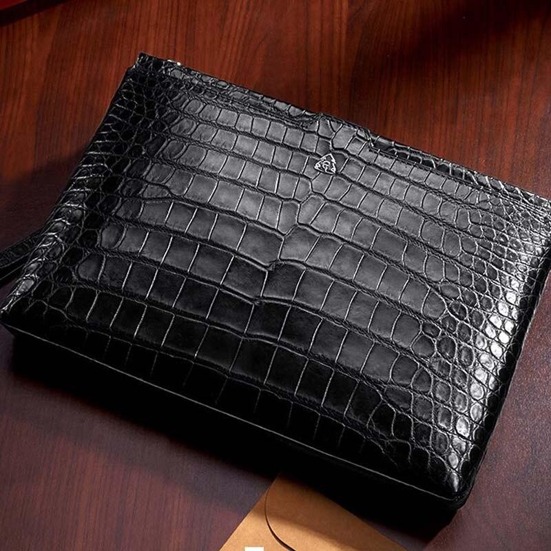 gete New crocodile leather men handbag male  horizontal male bag crocodile leather men clutch bag large capacity envelope bag