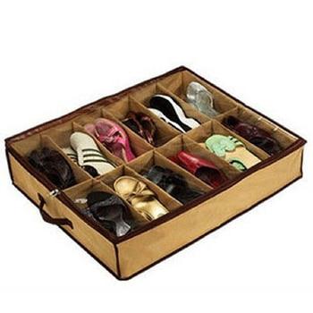 Storage Bag Nonwoven Transparent Creative Shoe Cabinet Dust-proof 12 Cases Shoes Organizer Holder Box Under Bed Closet