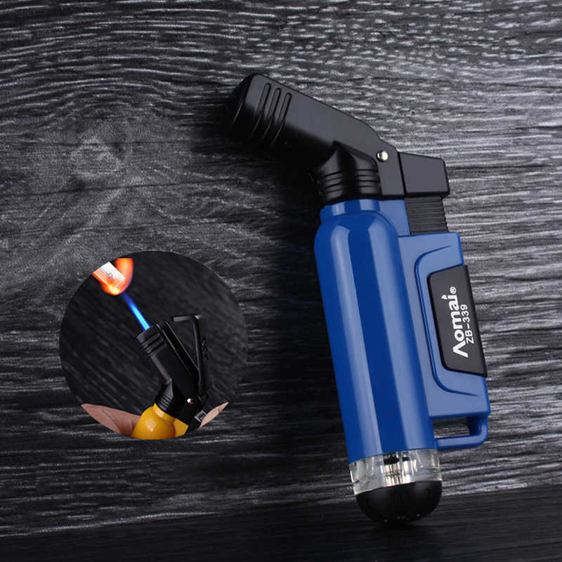 Semprot Baru Gun Torch Windproof Lighter Jet Turbo Inflatable Butana Gas Pipa Lebih Ringan Utdoor Portable Korek Api Api Biru