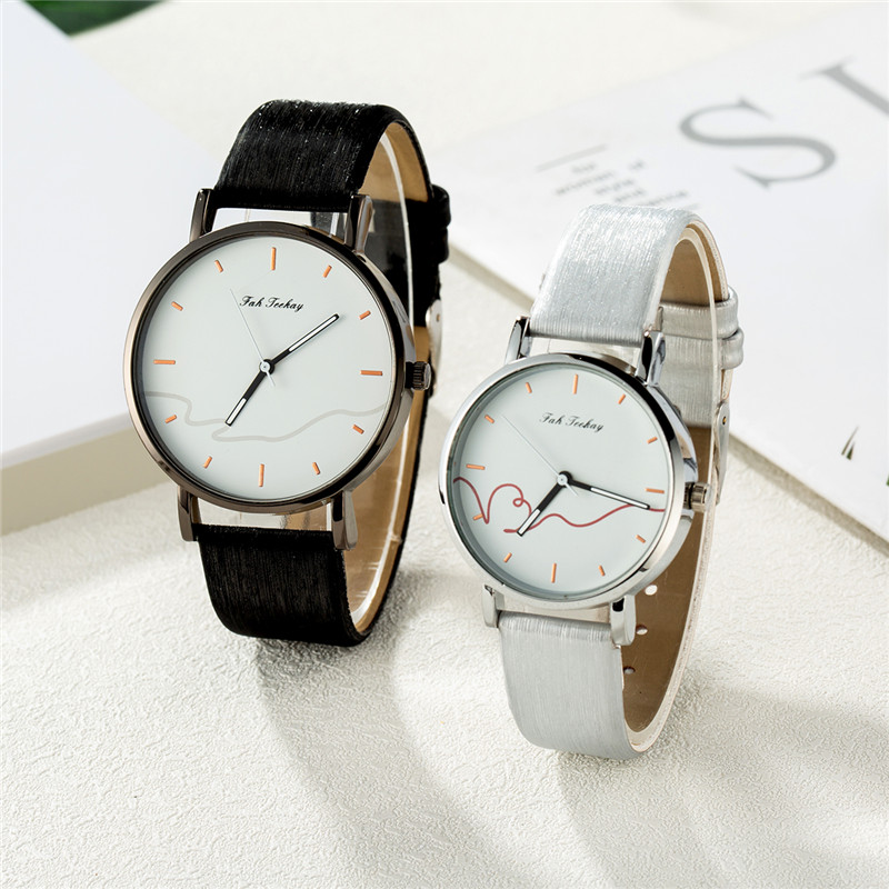 WJ-8733 New Lover's Watches Minimalist Fashion Women Men Watch Couple Classic Quartz Wristwatch Leather Strap Reloj Hombre Mujer