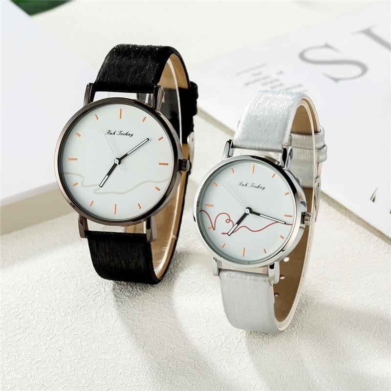 WJ-8733 New Lover's Watches Minimalist Fashion Women Men Watch Couple Classic Quartz Wristwatch Leather Strap Reloj Hombre Mujer