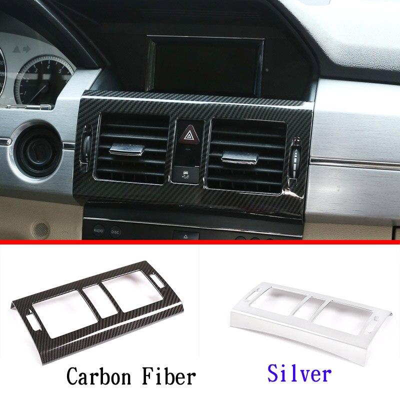 ABS krom karbon Fiber Mercedes benz GLK sınıfı X204 2008-2012 araba merkezi klima firar çerçeve Trim aksesuarları
