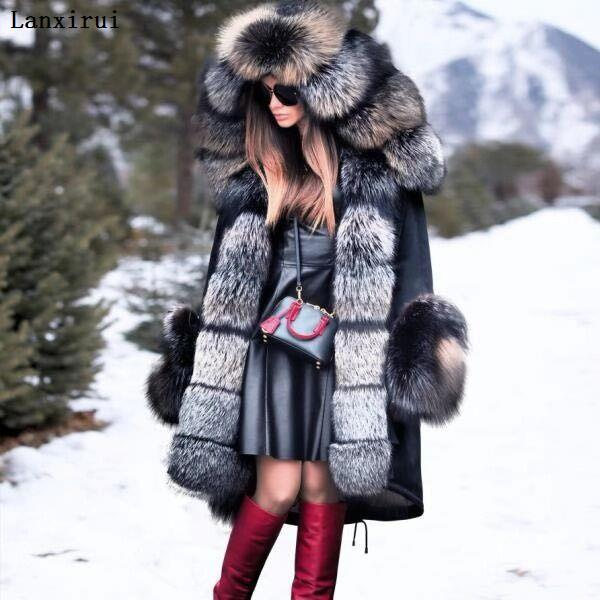 Lanxirui Parka Women Coats Luxurious Large Fur Collar Hooded Coat Warm Fox Fur Liner Parkas Long Winter Jacket Top Quality