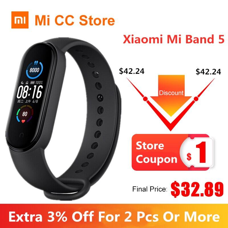 Rastreador de Fitness Original Xiaomi Banda Pulseira 4 Cor Freqüência Cardíaca Bluetooth Esporte Amoled Tela Miband mi 5