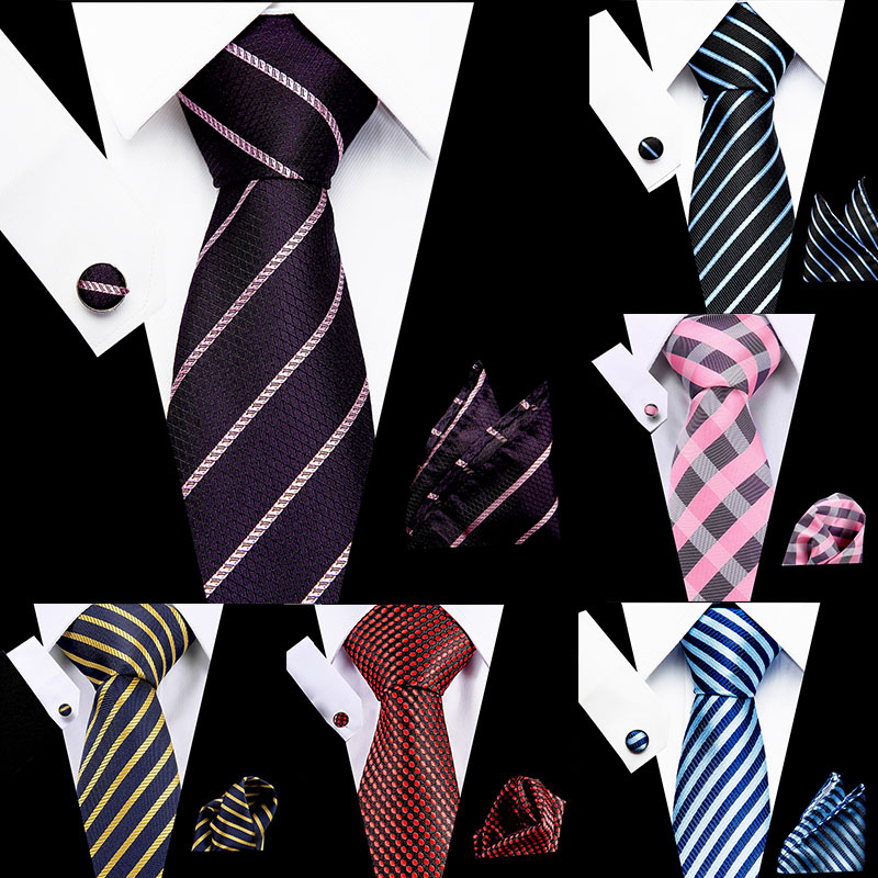 Wedding Men's Stripe Necktie 7.5cm 100% Silk Necktie Handkerchief  Cuffink Set Flomal Dress Accessories Mens Classic Tie