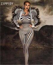 Novo estilo padrão de zebra macacão feminino cantor sexy palco outfit bar ds dança cosplay bodysuit traje formatura roupas
