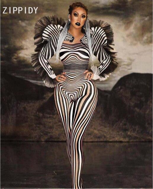 Yeni stil Zebra desen tulum kadın şarkıcı seksi sahne kıyafet Bar DS dans Cosplay Bodysuit kostüm balo elbise