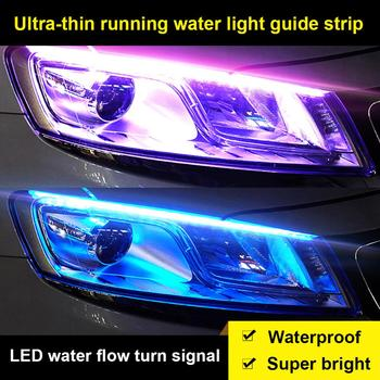 12V Ultra-thin Car LED Strip Headlight Decoration Turn Signal For Auto DRL Lamp Flowing Water Running Guide Light Waterproof image