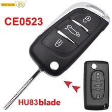 Funda plegable de 3 botones para coche Citroen C2 C3 C4, para Peugeot 308, 3008, 5008, 208, 807, HU83, CE0523