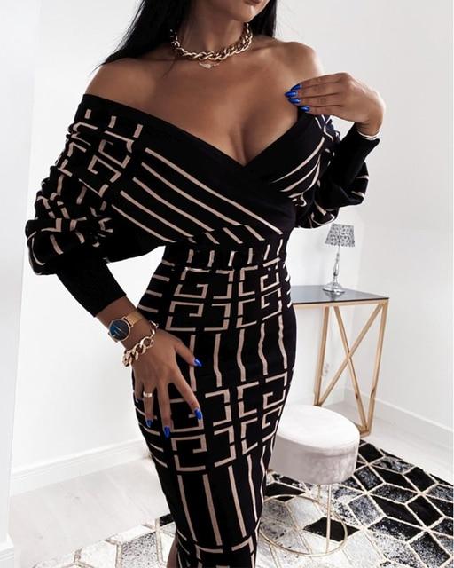 2020 Women Fashion Elegant Casual New Autumn Officewear Printing Long Sleeve Wrap Midi Dress 2