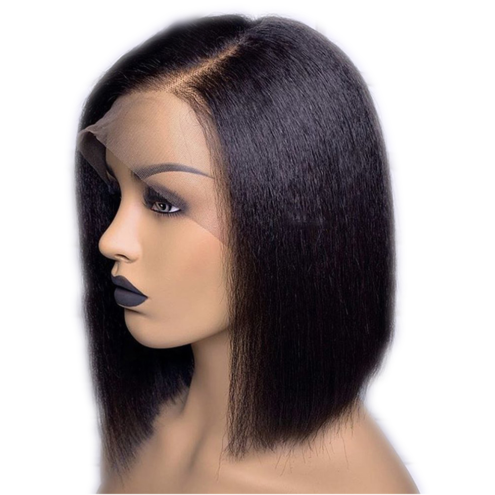 Eversilky Short Bob Wig Full Lace Human Hair Wigs With Baby Hair For Black Women Peruvian Yaki Straight Wig Remy Pre Plucked