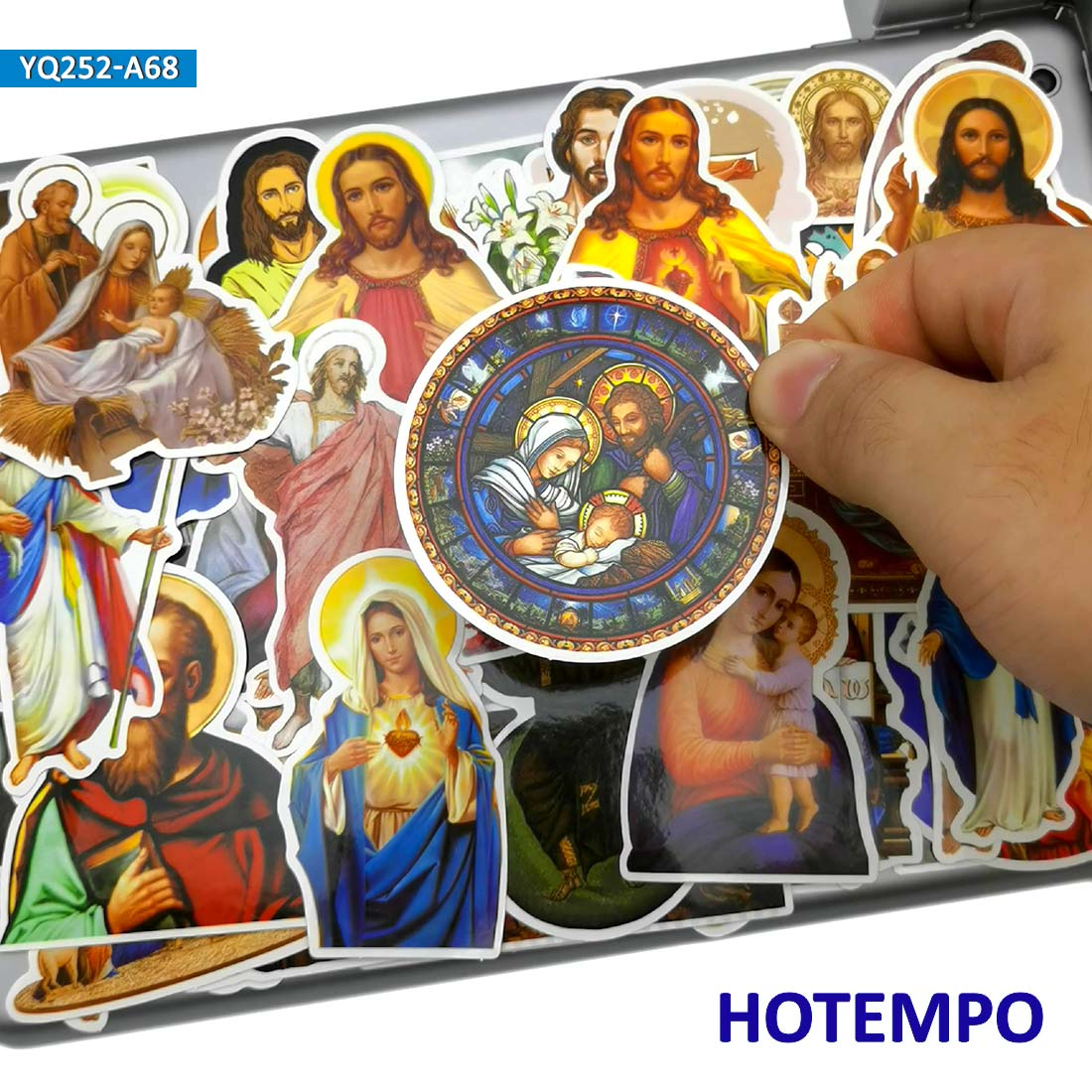 68pcs Jesus Virgin Mary Peter Paul Stickers For DIY Mobile Phone Laptop Luggage Guitar Case Skateboard Bike PVC Waterproof Decal