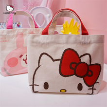 HELLO KITTY 2019 New Simple Fashion Canvas Shopping Bag Cute  Tote Bag Handbags Women Large Capacity Handbag Big Shopping Bag цена 2017