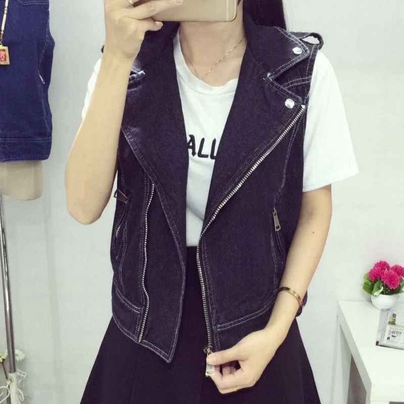 Mode Frauen Denim Ärmellose Jacke Weibliche Zipper Freund Lässig Outwear Weste Retro Motorrad Jean Weste Plus Größe 8XL