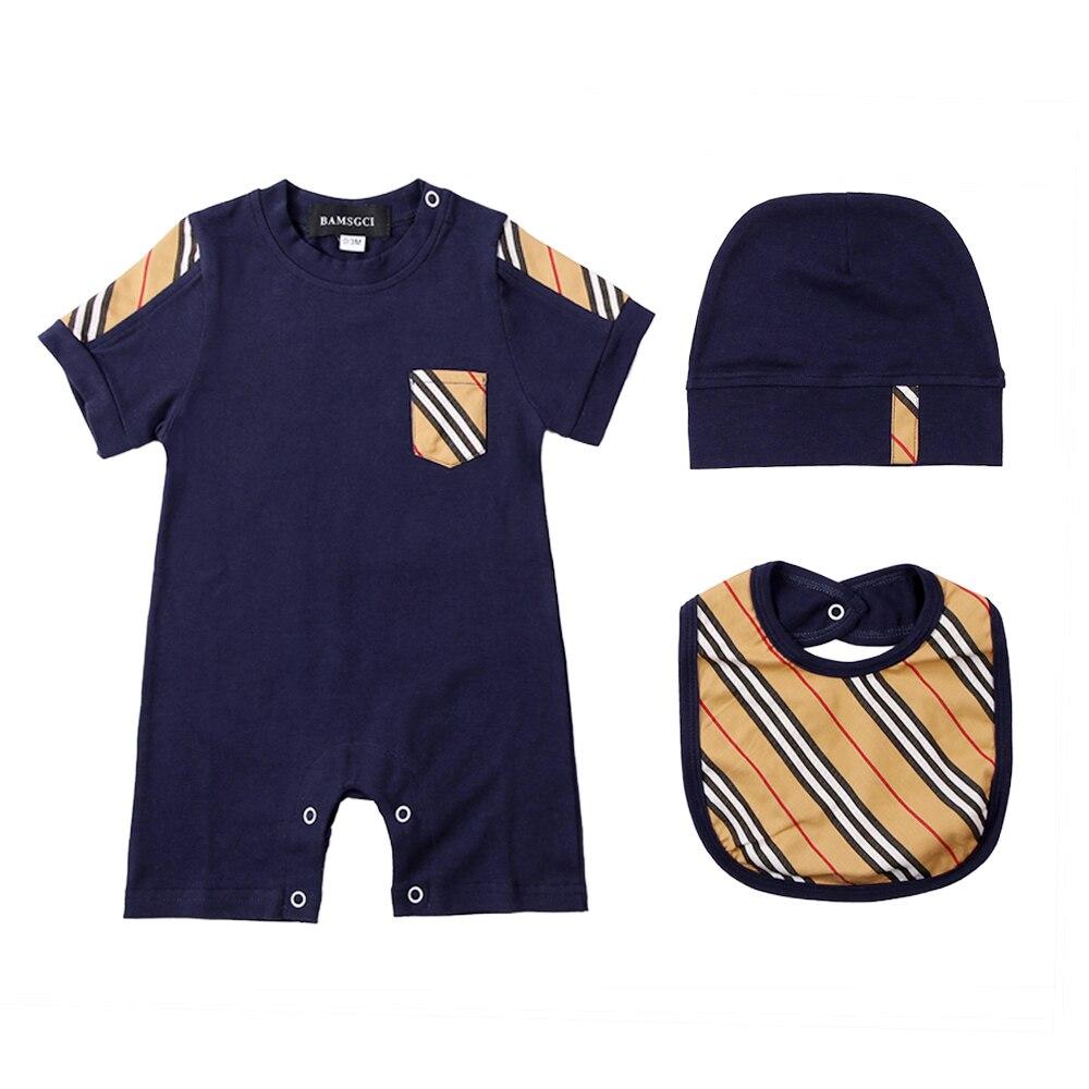 New summer fashion British style newborn baby clothes Unisex cotton Plaid stripes new born baby boy girls rompers hat Bibs 3 set