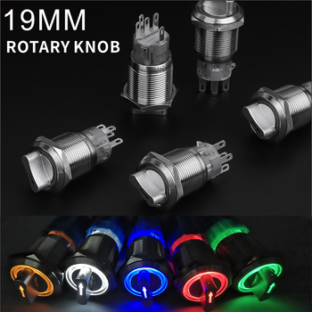 19mm LED Metal Selector Rotary Switch 2 3 Position push button switch 1no1nc 2no2nc dpst knob switch latching on off ac09 01j rotary switches band switch cnc panel knob switch