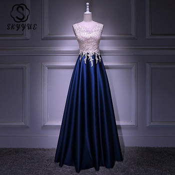 Skyyue Evening Dresses K298 O-Neck Lace Crystal Sleeveless Plus Size Party Gown 2020 Zipper A-Line Formal Evening Gown for Women