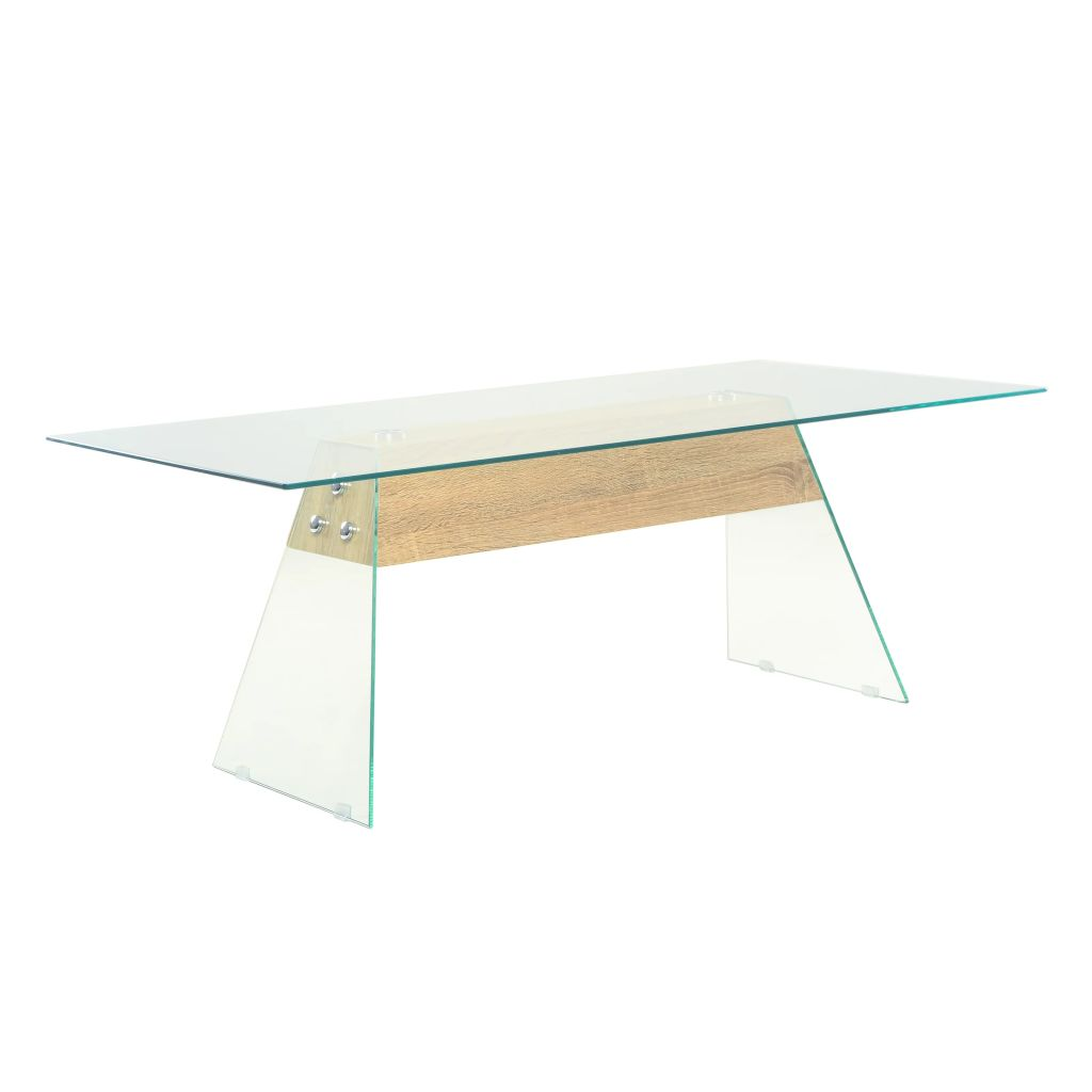 VidaXL Coffee Table MDF And Glass 110x55x40 Cm Oak Colour