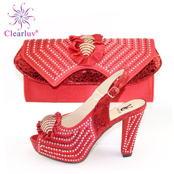 New Arrival Comfortable High Heels Shoes And Bags Set Decoration With Rhinestone Woman Shoes And Bag Set For Party